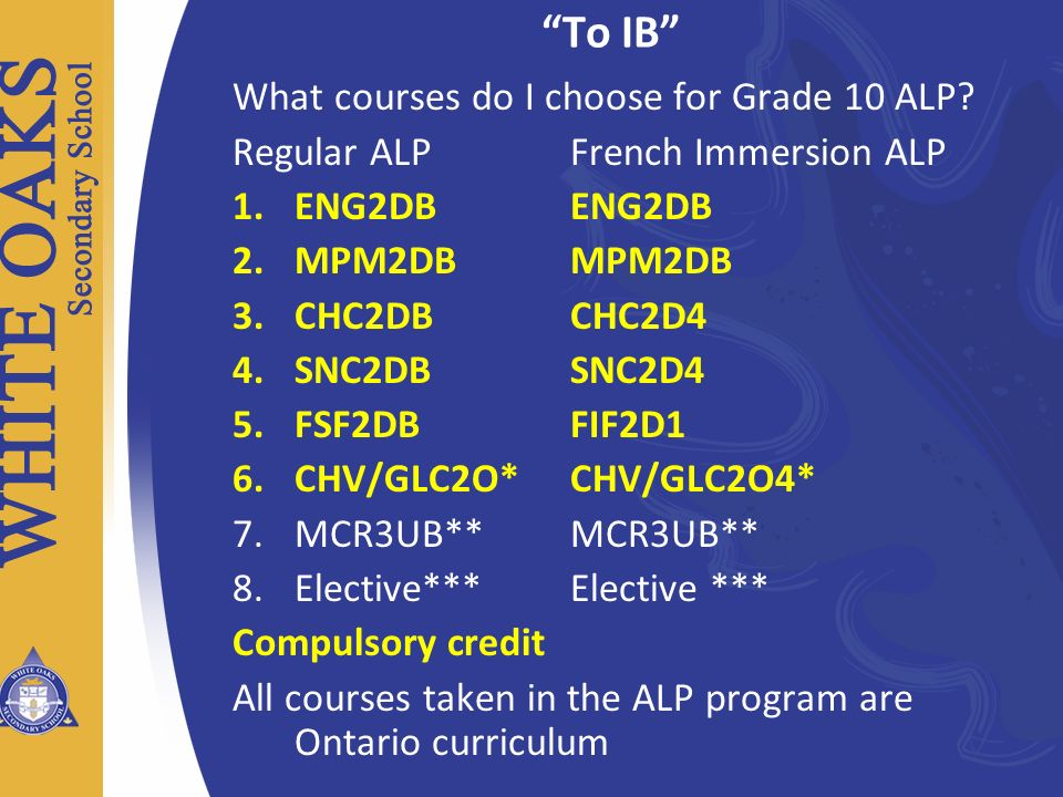 To IB What courses do I choose for Grade 10 ALP