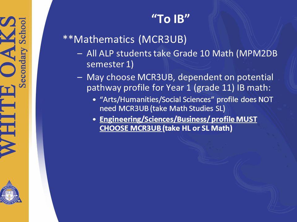To IB **Mathematics (MCR3UB)