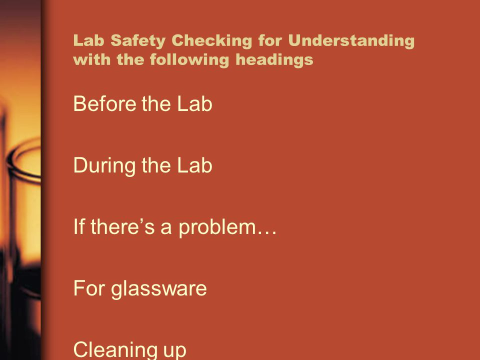 Lab Safety Checking for Understanding with the following headings