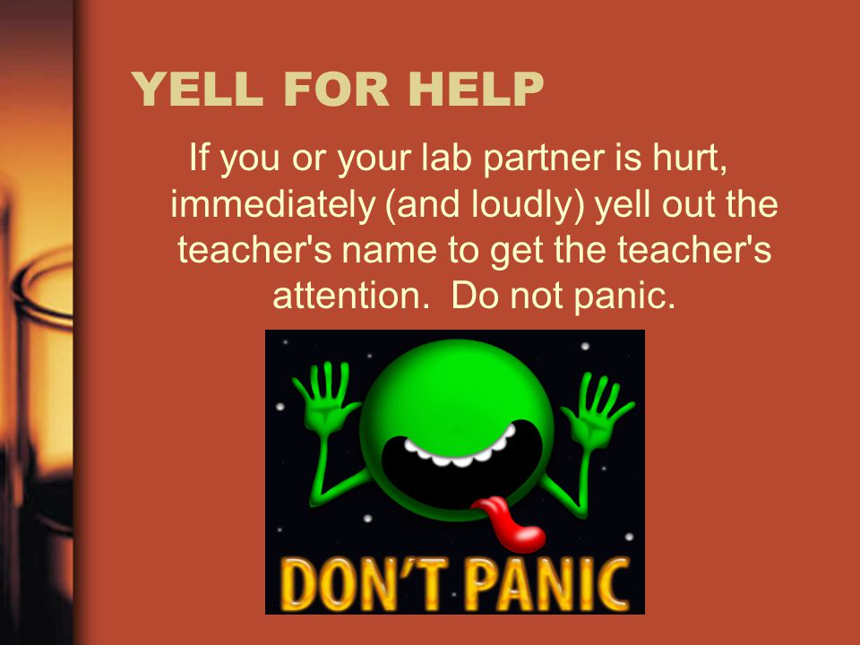 YELL FOR HELP If you or your lab partner is hurt, immediately (and loudly) yell out the teacher s name to get the teacher s attention. Do not panic.