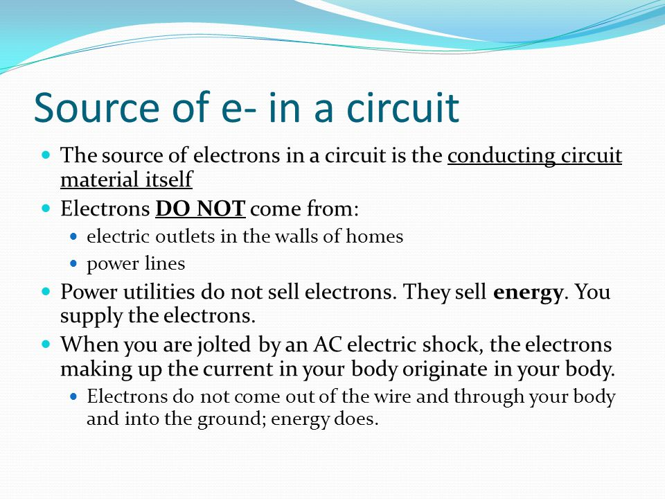 Source of e- in a circuit