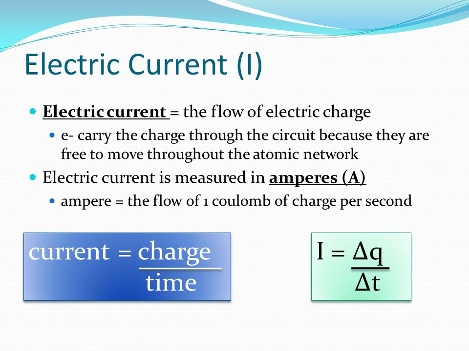 Electric Current (I) current = charge time I = Δq Δt