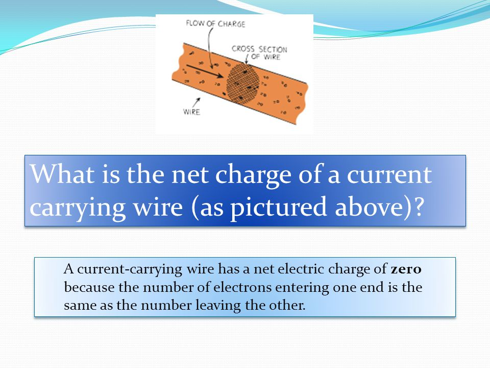 What is the net charge of a current carrying wire (as pictured above)