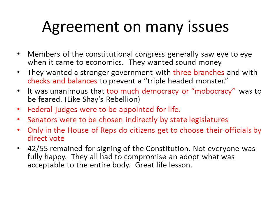 Agreement on many issues