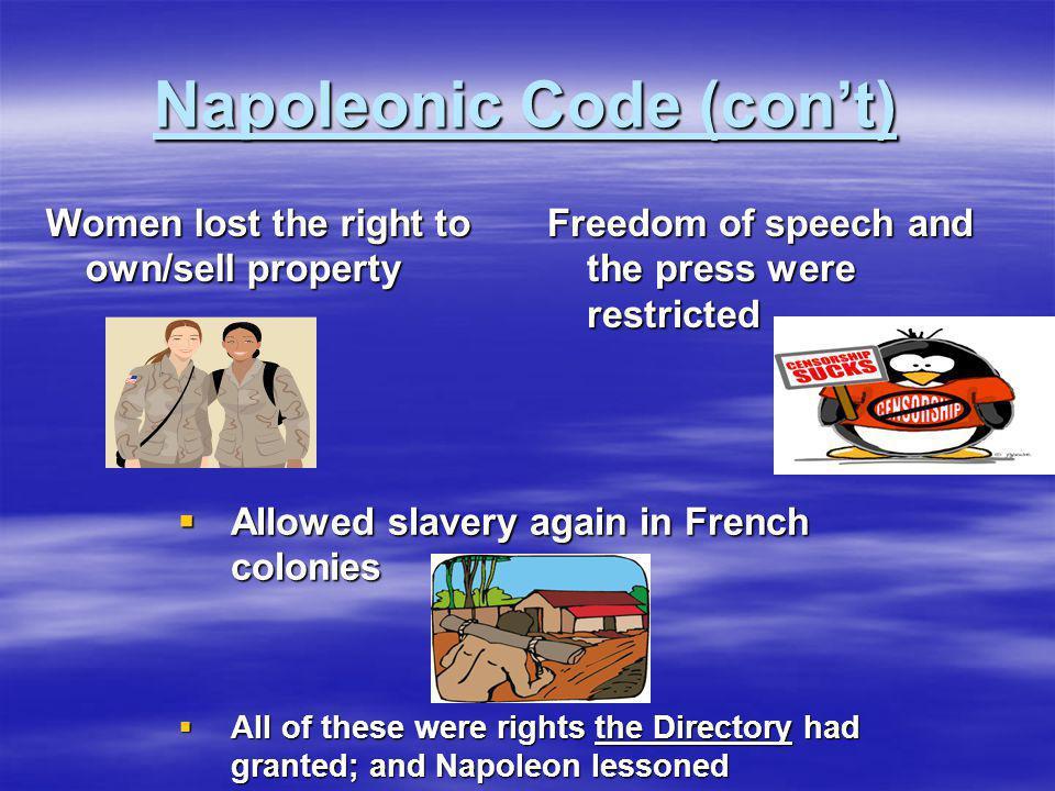Napoleonic Code (con't)