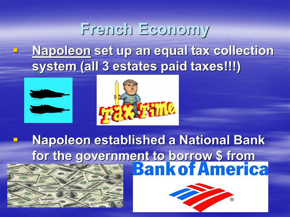 French Economy Napoleon set up an equal tax collection system (all 3 estates paid taxes!!!)