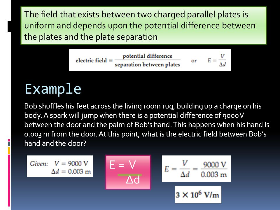 The field that exists between two charged parallel plates is uniform and depends upon the potential difference between the plates and the plate separation