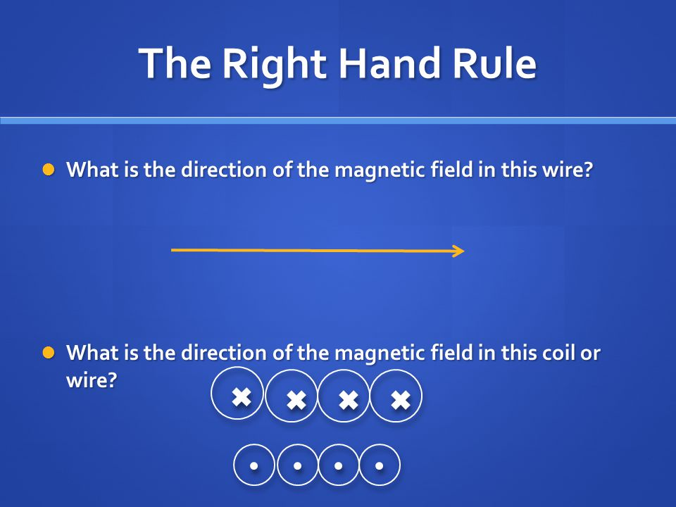 The Right Hand Rule What is the direction of the magnetic field in this wire.