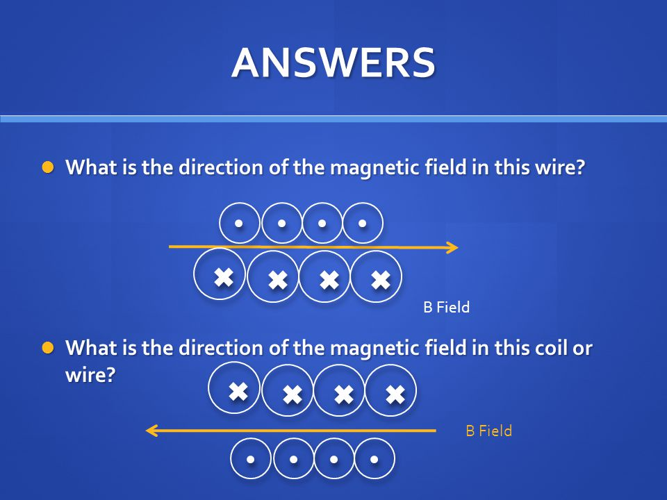 ANSWERS What is the direction of the magnetic field in this wire