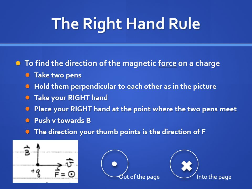 The Right Hand Rule To find the direction of the magnetic force on a charge. Take two pens. Hold them perpendicular to each other as in the picture.