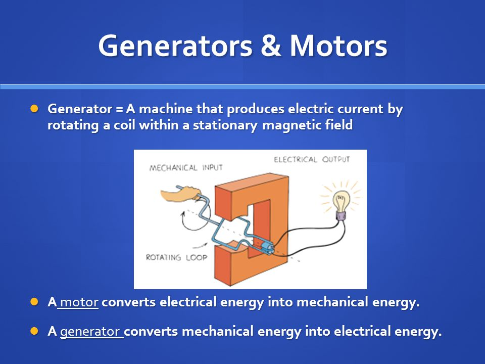Generators & Motors Generator = A machine that produces electric current by rotating a coil within a stationary magnetic field.