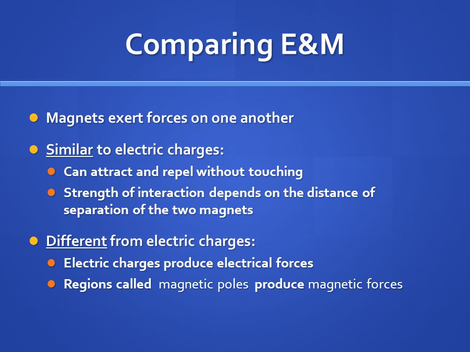 Comparing E&M Magnets exert forces on one another