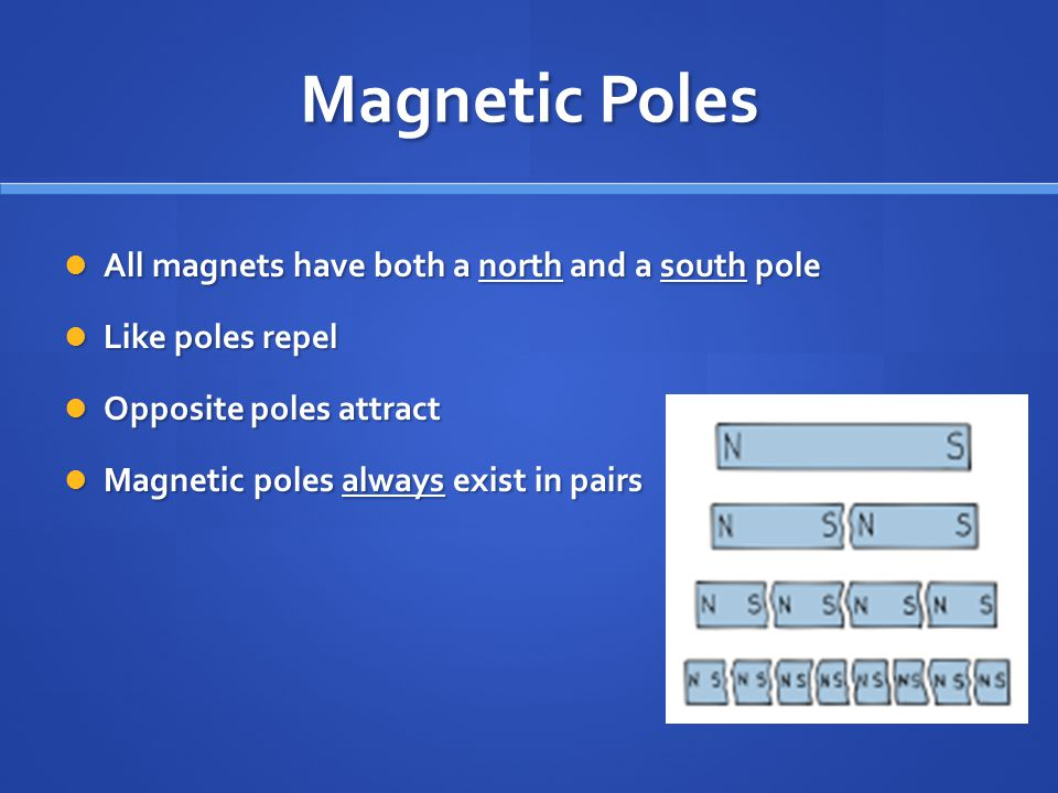 Magnetic Poles All magnets have both a north and a south pole