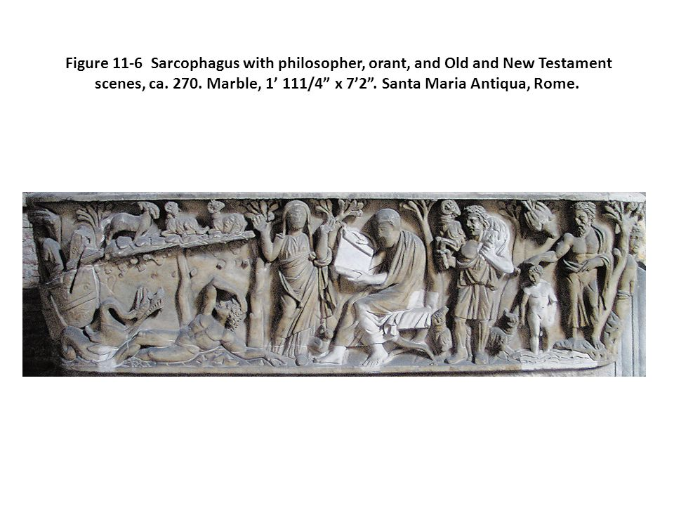 Figure 11-6 Sarcophagus with philosopher, orant, and Old and New Testament scenes, ca.