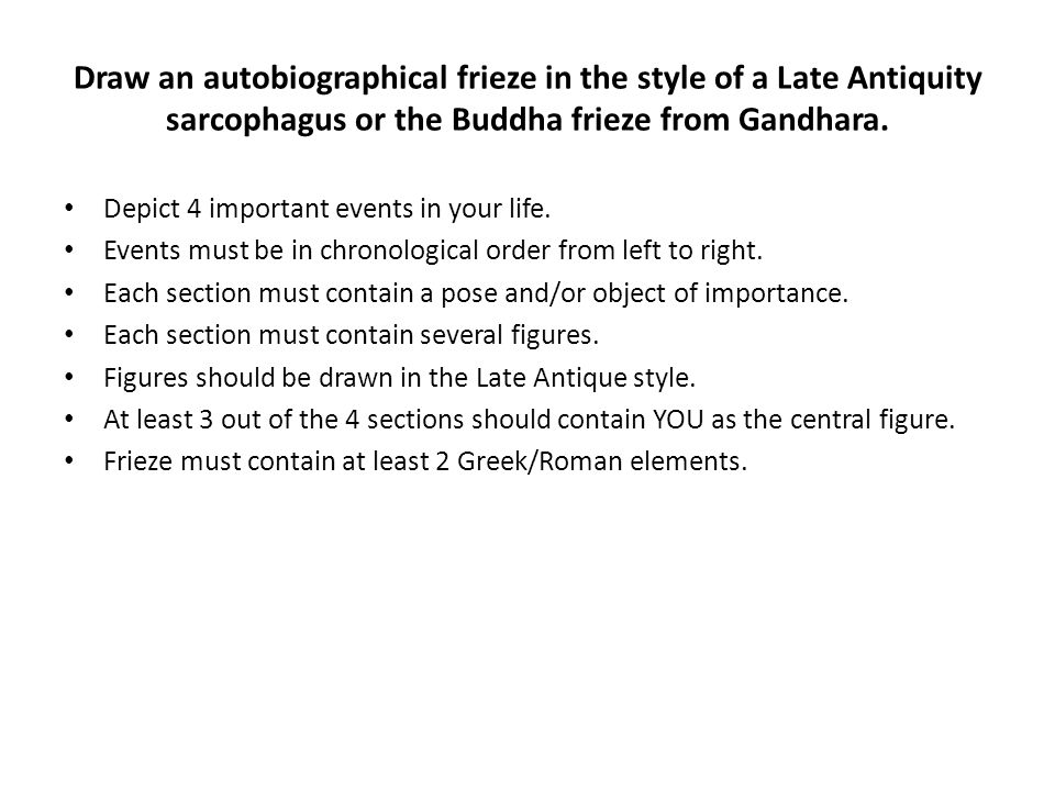 Draw an autobiographical frieze in the style of a Late Antiquity sarcophagus or the Buddha frieze from Gandhara.