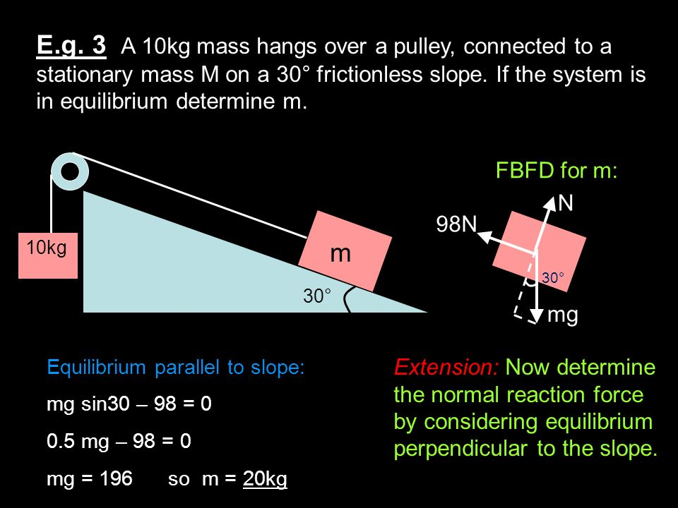 E.g. 3 A 10kg mass hangs over a pulley, connected to a stationary mass M on a 30° frictionless slope. If the system is in equilibrium determine m.