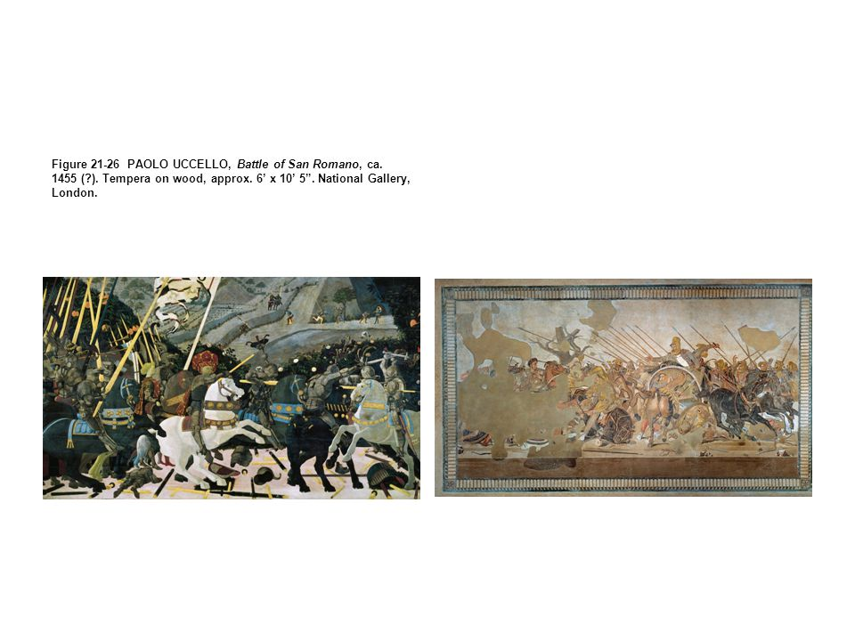 Figure 21-26 PAOLO UCCELLO, Battle of San Romano, ca. 1455 (. )