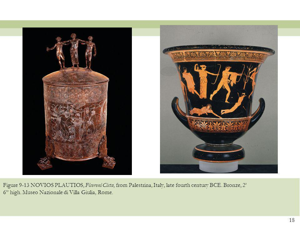 Figure 9-13 NOVIOS PLAUTIOS, Ficoroni Cista, from Palestrina, Italy, late fourth century BCE.