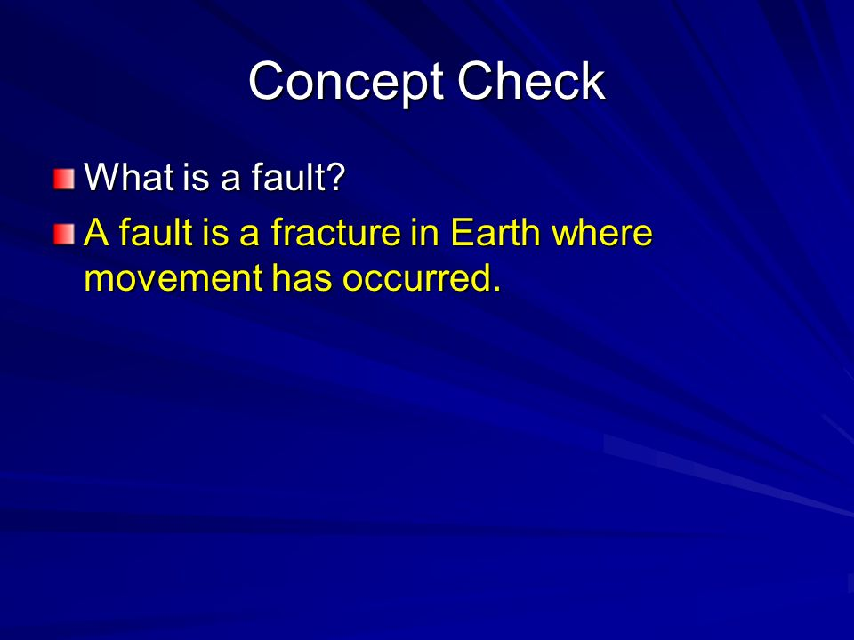 Concept Check What is a fault