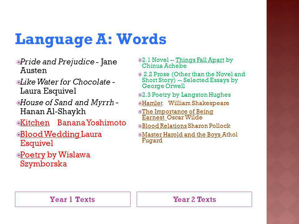Language A: Words Pride and Prejudice - Jane Austen
