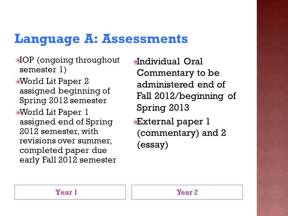 Language A: Assessments