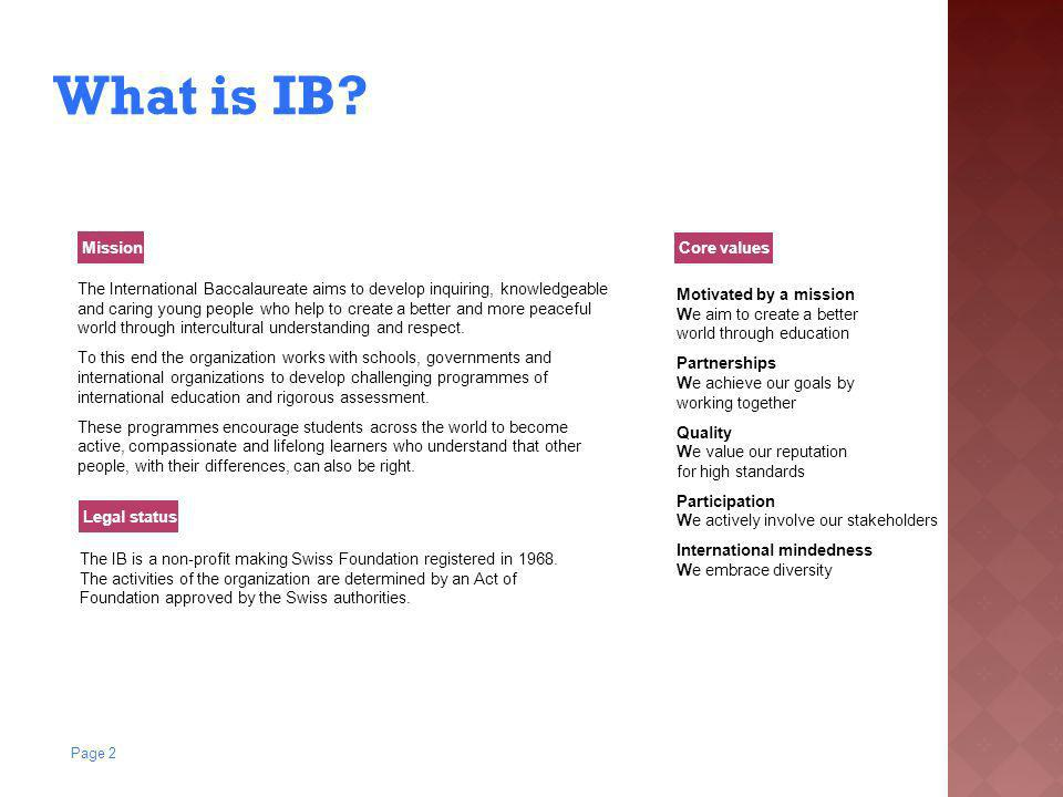 What is IB Mission Core values