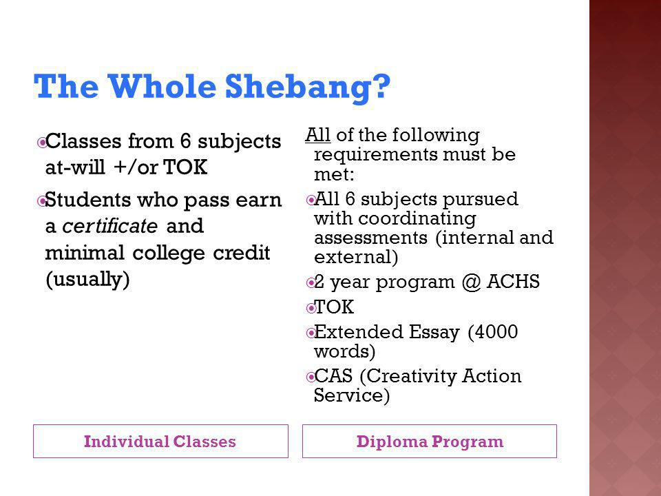 The Whole Shebang Classes from 6 subjects at-will +/or TOK