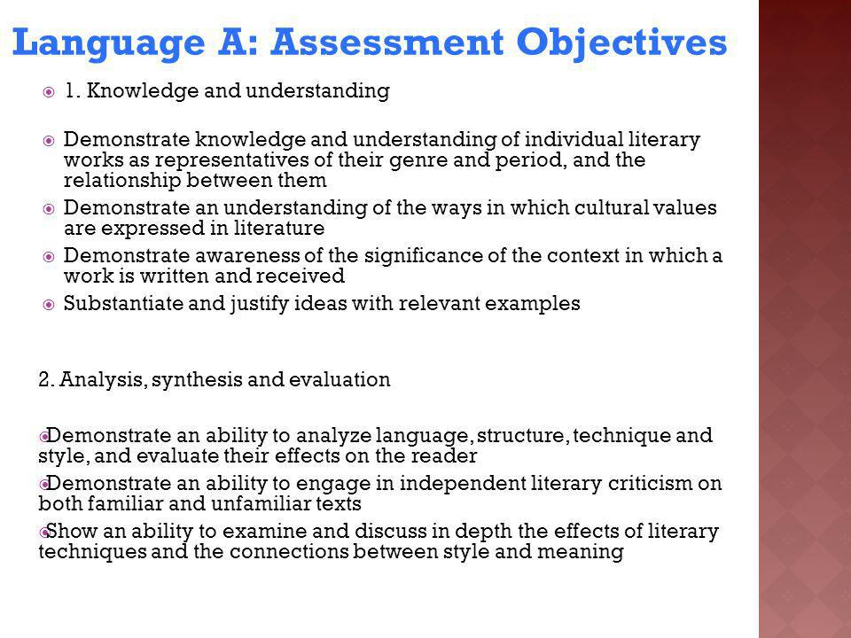 Language A: Assessment Objectives