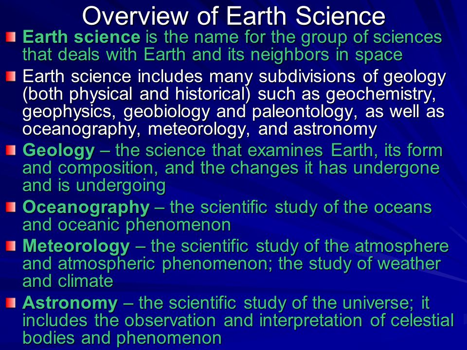 Overview of Earth Science