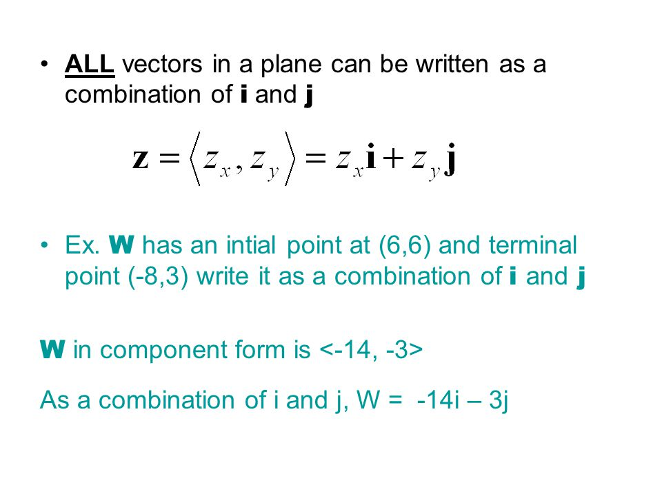ALL vectors in a plane can be written as a combination of i and j