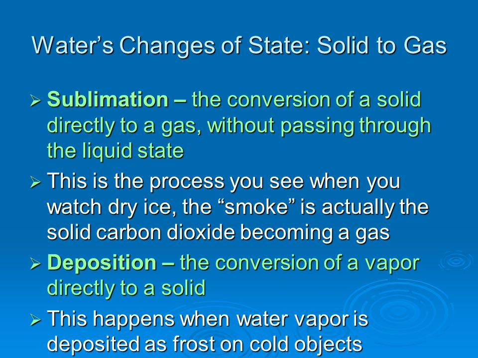 Water's Changes of State: Solid to Gas