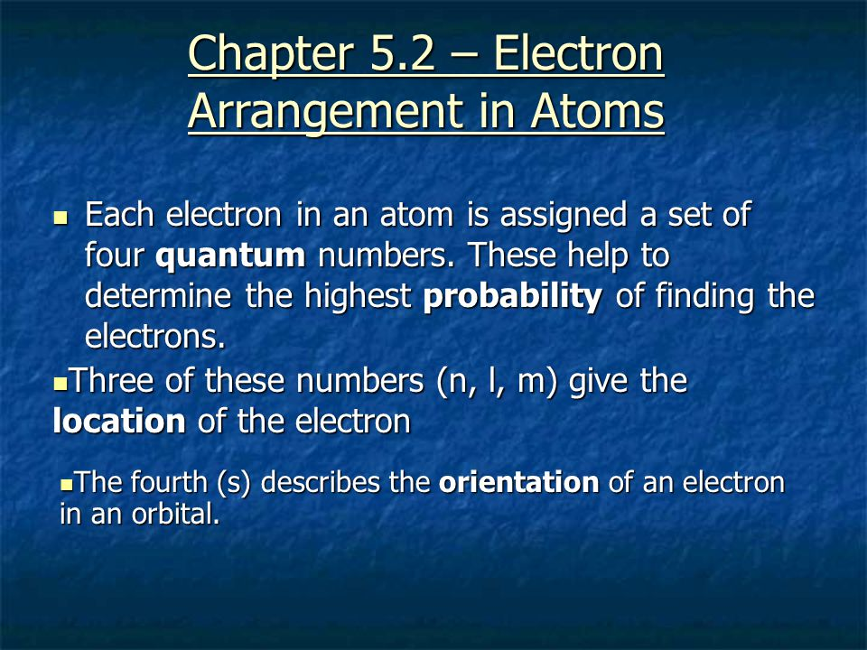 Chapter 5.2 – Electron Arrangement in Atoms