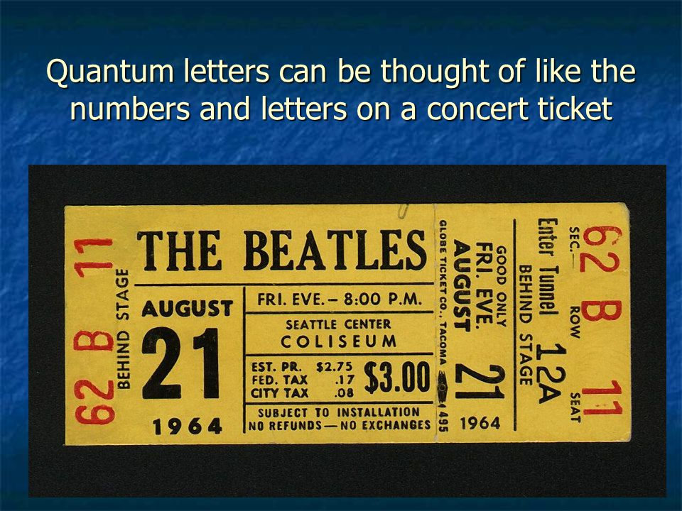 Quantum letters can be thought of like the numbers and letters on a concert ticket