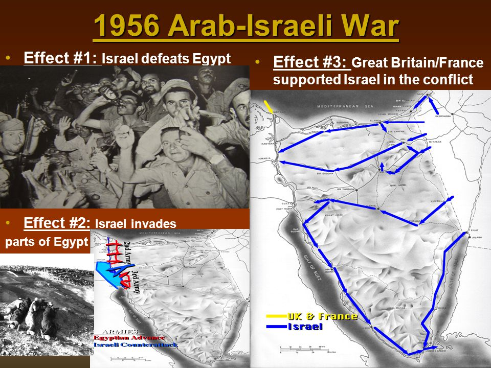 1956 Arab-Israeli War Effect #1: Israel defeats Egypt