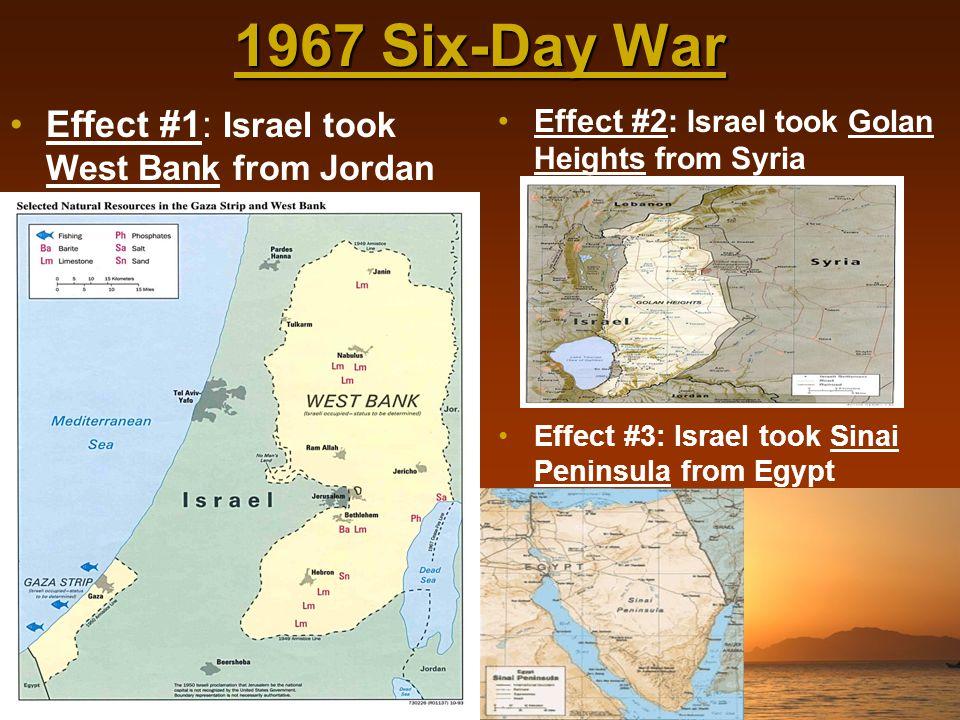 1967 Six-Day War Effect #1: Israel took West Bank from Jordan
