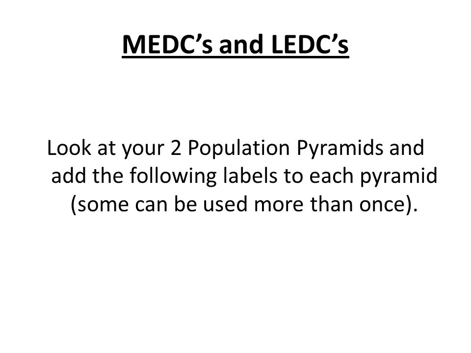 MEDC's and LEDC's Look at your 2 Population Pyramids and add the following labels to each pyramid (some can be used more than once).