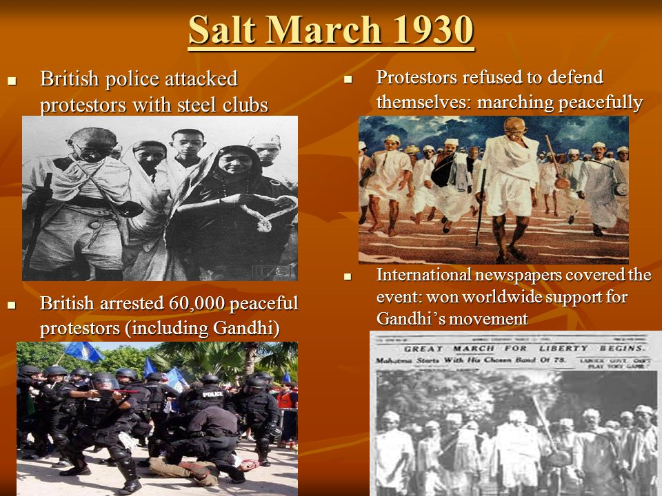 Salt March 1930 British police attacked protestors with steel clubs