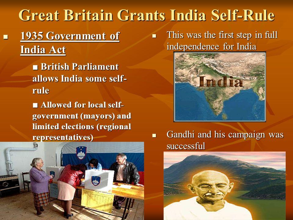 Great Britain Grants India Self-Rule