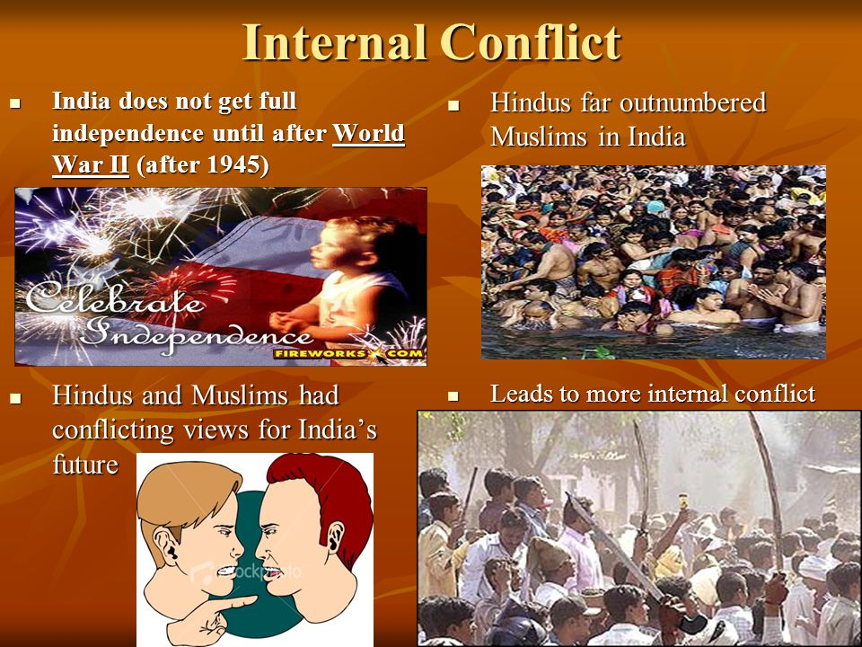 Internal Conflict Hindus far outnumbered Muslims in India