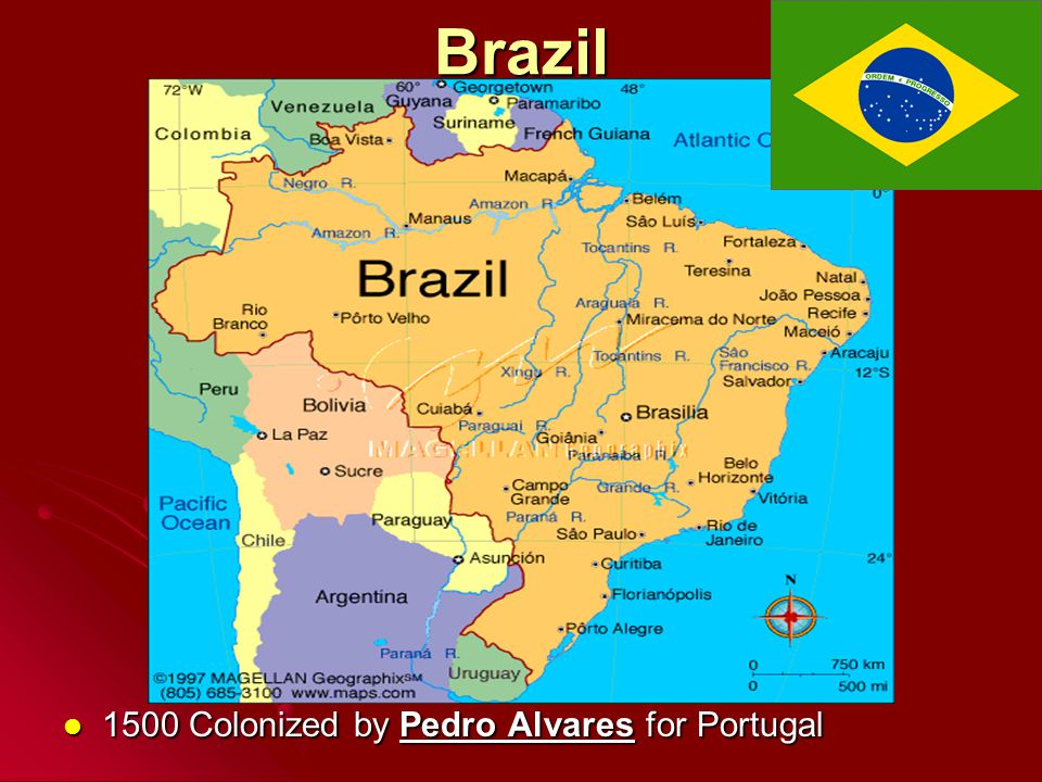 Brazil 1500 Colonized by Pedro Alvares for Portugal