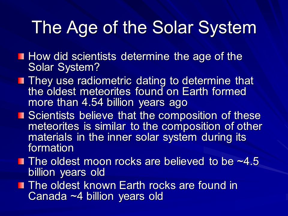 The Age of the Solar System