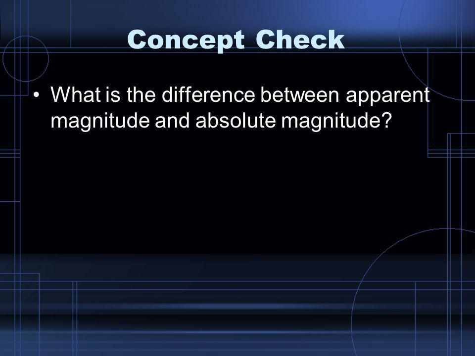 Concept Check What is the difference between apparent magnitude and absolute magnitude