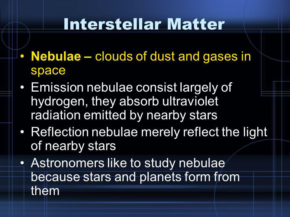 Interstellar Matter Nebulae – clouds of dust and gases in space