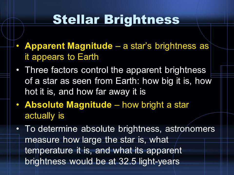 Stellar Brightness Apparent Magnitude – a star's brightness as it appears to Earth.