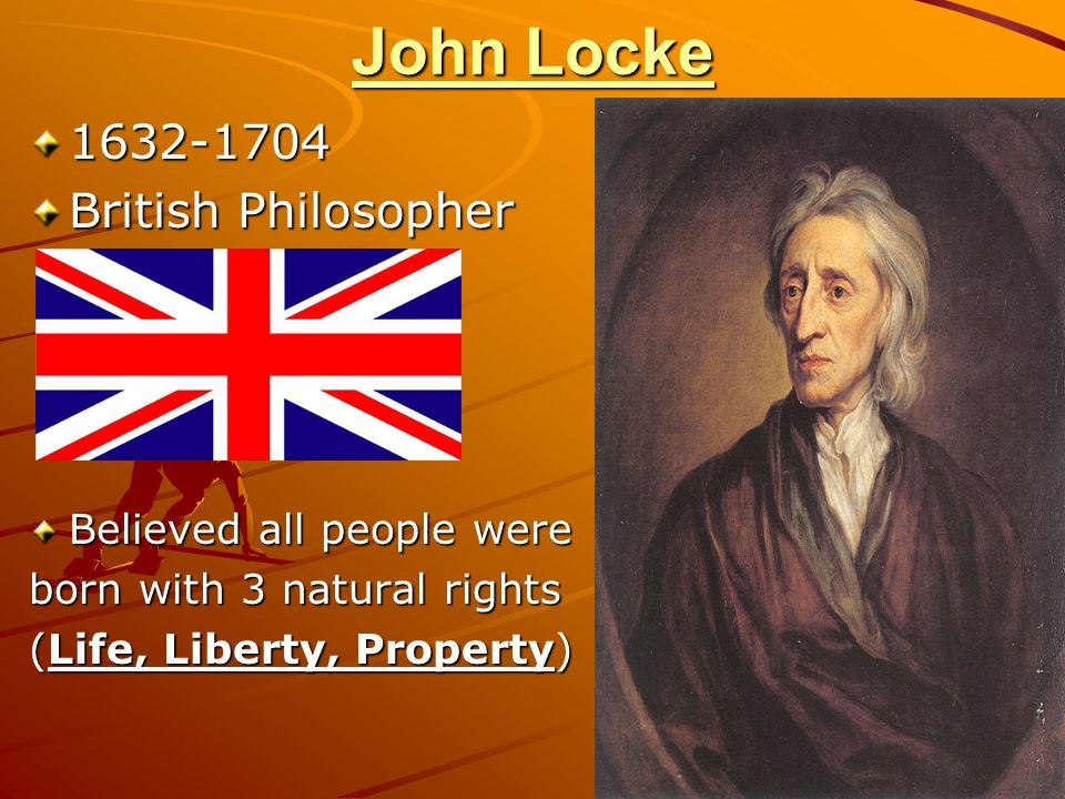 John Locke 1632-1704 British Philosopher Believed all people were