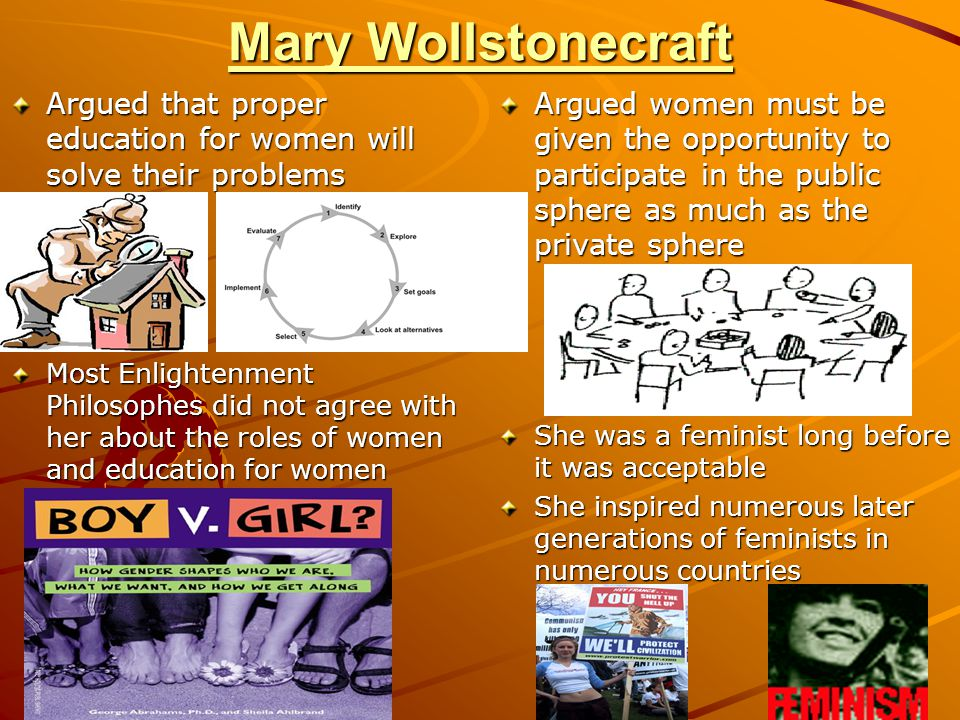 Mary Wollstonecraft Argued that proper education for women will solve their problems.