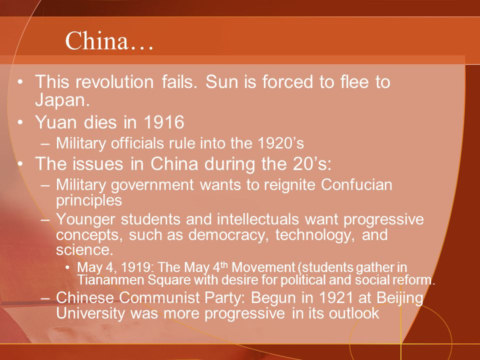 China… This revolution fails. Sun is forced to flee to Japan.