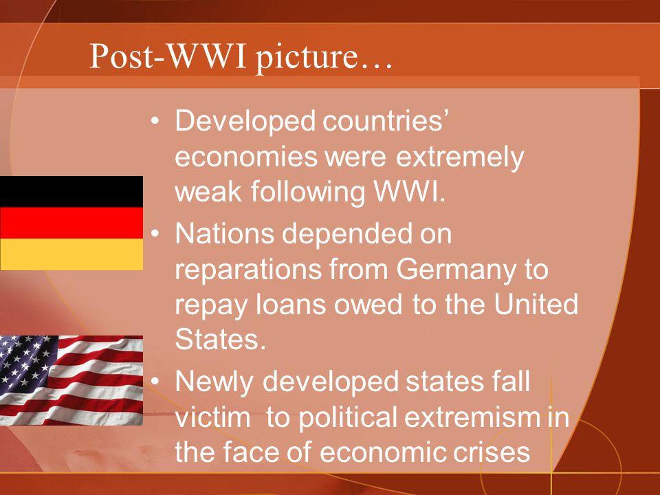 Post-WWI picture… Developed countries' economies were extremely weak following WWI.