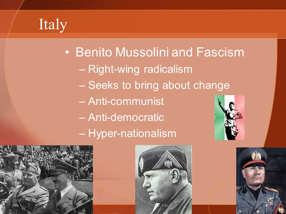 Italy Benito Mussolini and Fascism Right-wing radicalism