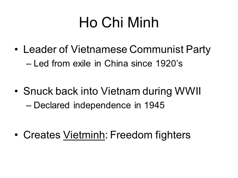 Ho Chi Minh Leader of Vietnamese Communist Party